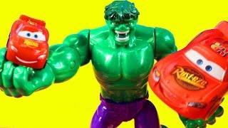 Hulk Helps Disney Pixar Cars 3 Lightning McQueen Find His Mini Hulk Smashes Imaginext Bad Guys