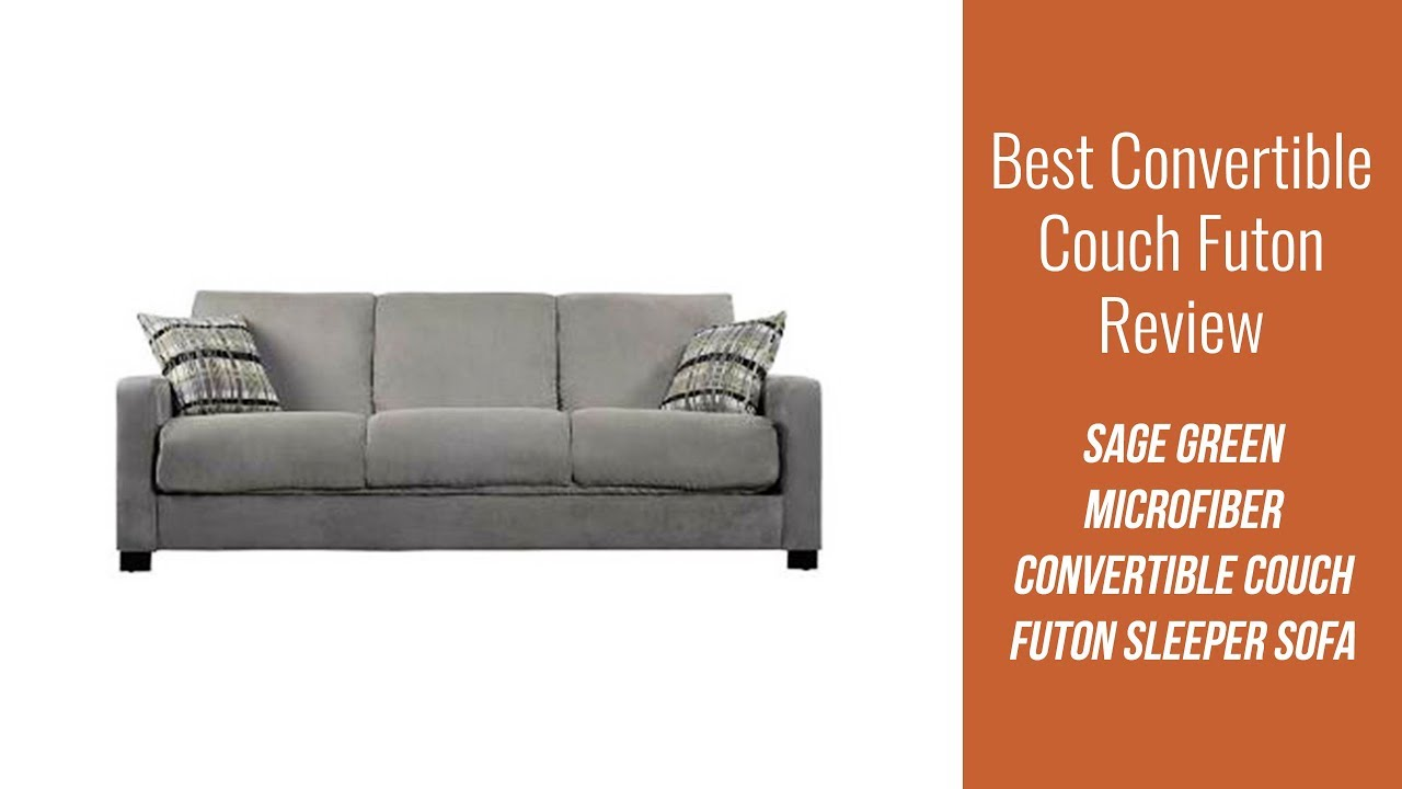 Best Convertible Couch Review - Sage Green Microfiber Convertible Couch  Futon Sleeper Sofa