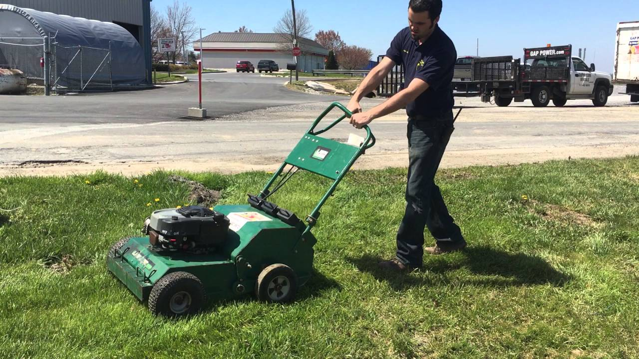 Lawn Aerator For Sale >> 2010 Lawn Solution Walk Behind Hydrostatic Aerator For Sale Youtube