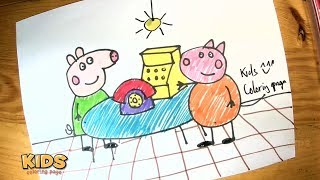 How to draw a peppa pig call phone for kids ❤ Doraemon super coloring pages for kids