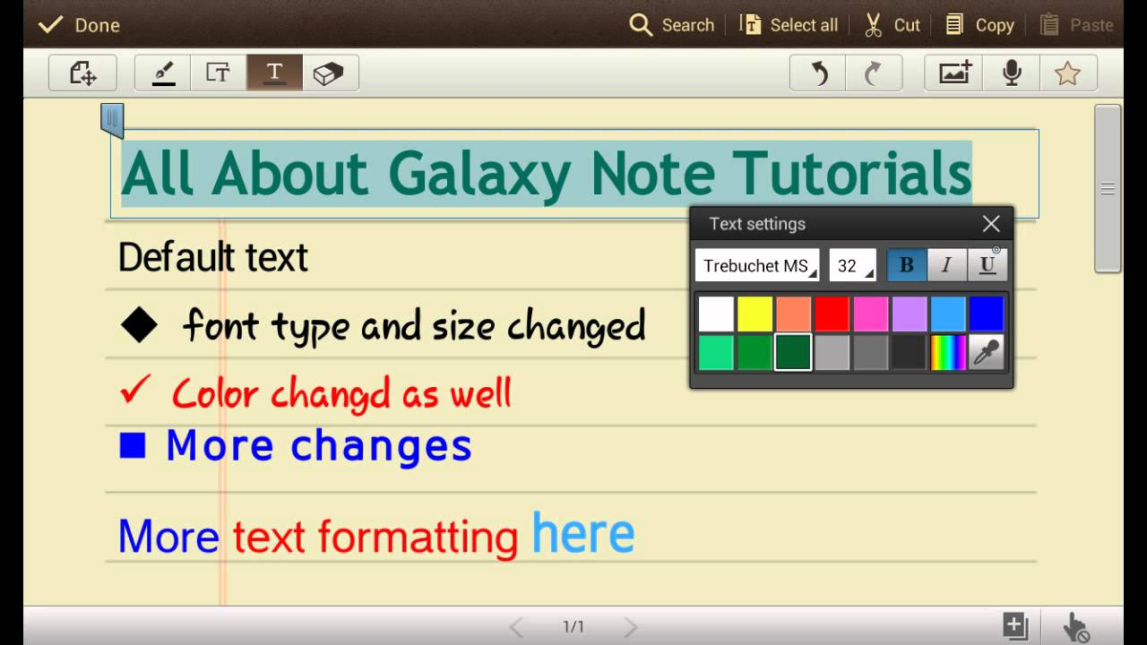 S Note tutorial: how to change text styles (appearance) - Galaxy
