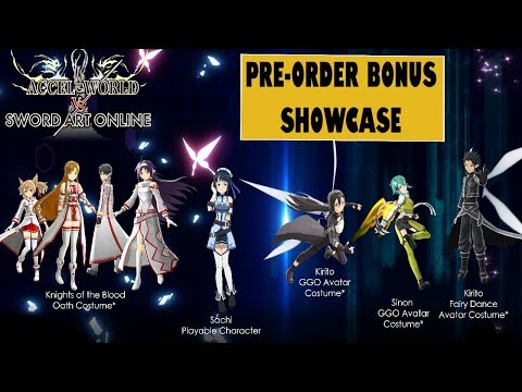 Accel World VS Sword Art Online Pre-Order Bonus costumes / avatars showcase + Ordinal Scale outfits