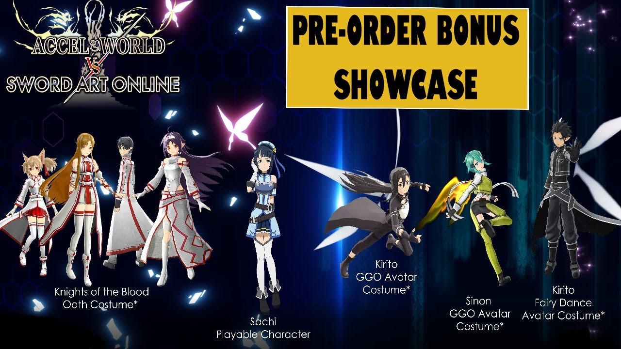 Accel World VS Sword Art Online Pre Order Bonus Costumes ...