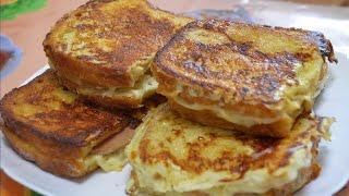 Как приготовить гренки на сковороде - быстрый сытный завтрак./How to cook croutons.