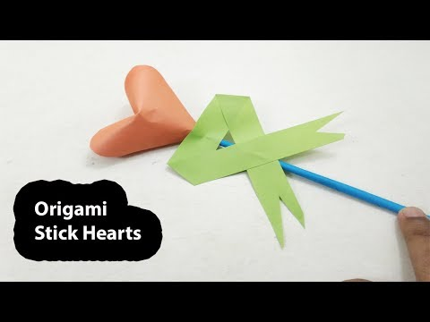 How to Make Paper Hearts - Origami Stick Paper Hearts - DIY Paper Crafts - Origami Heart Easy
