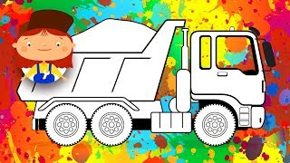 Educational cartoon for children. Let's colour a Dump-Truck. Doctor MacWheelie.