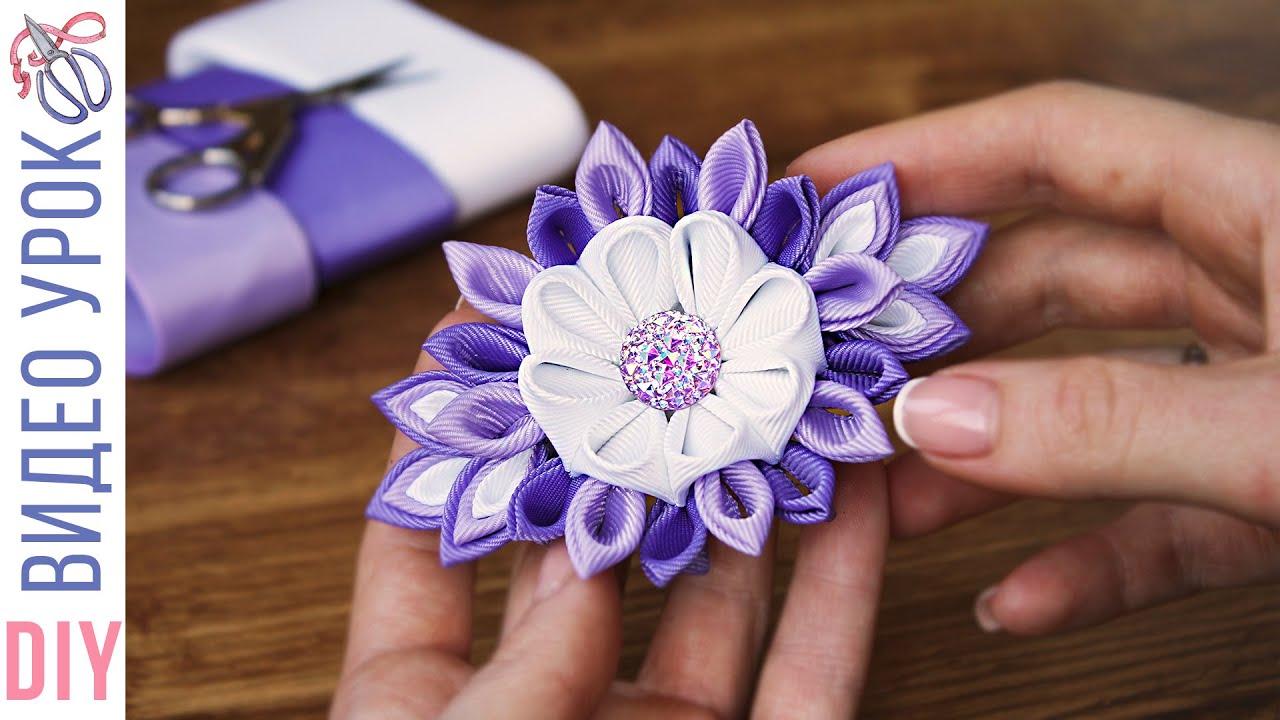 Белый цветок канзаши к 1 сентября анастасия куликова