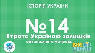 Онлайн-урок ЗНО. Історія України №14. Втрата Україною залишків автономного устрою