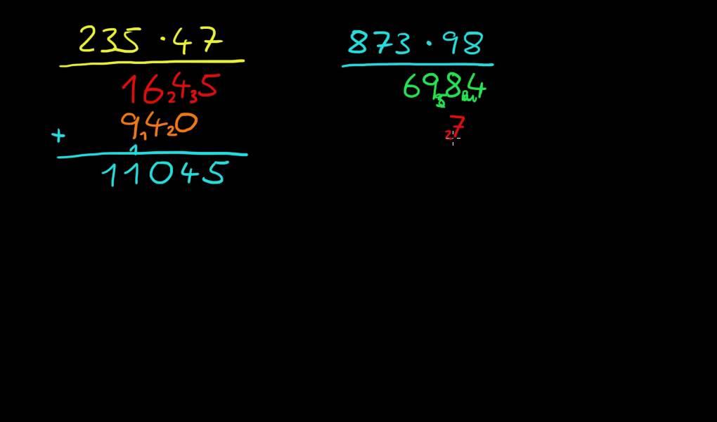 Multiplikation 7: mehrstellige Zahlen, zusätzliche Übungen - YouTube