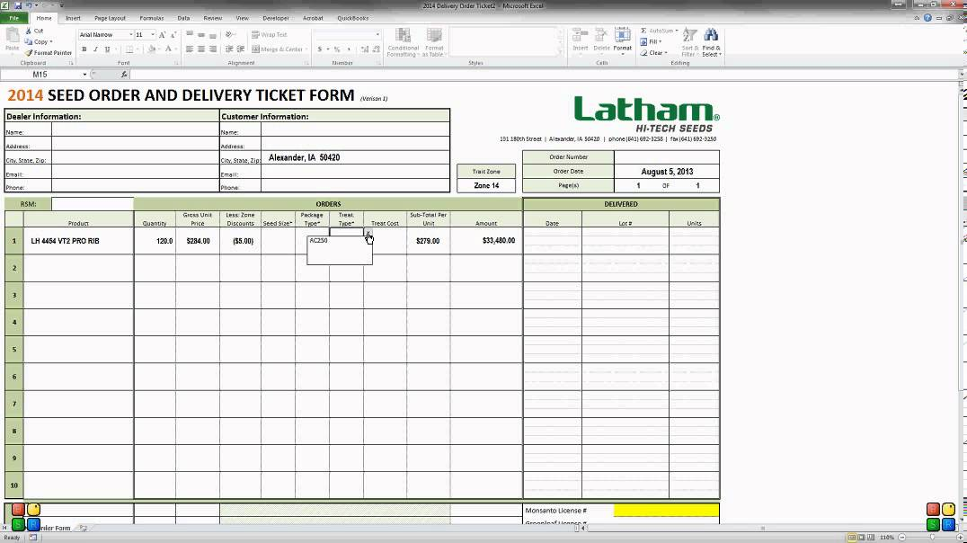 How to fill out the 2014 Delivery Ticket in Excel - YouTube