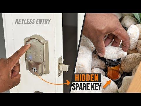 Smart Lock Install & Secret hiding spot for SPARE KEY | Schlage Encode Smart WiFi Deadbolt