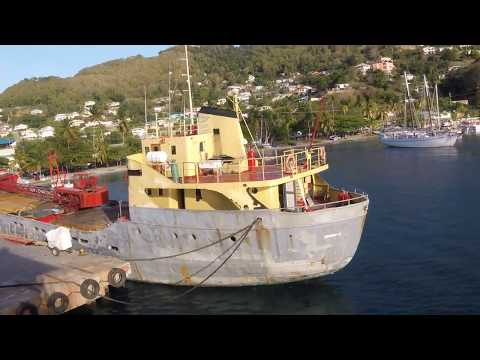 Bequia Express Ferry from St. Vincent Island Arrives into Port Elizabeth, Bequia Island, Grenadines
