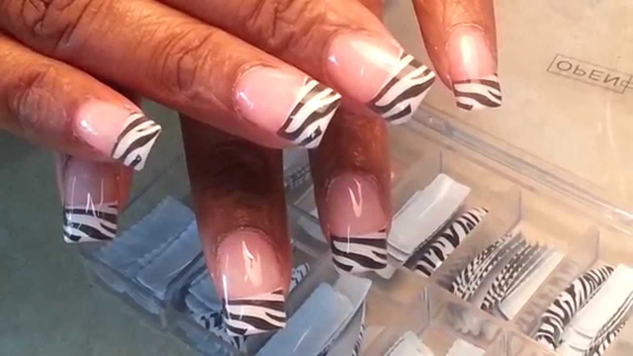 Zebras Acrylic Nails Tips Designs - YouTube