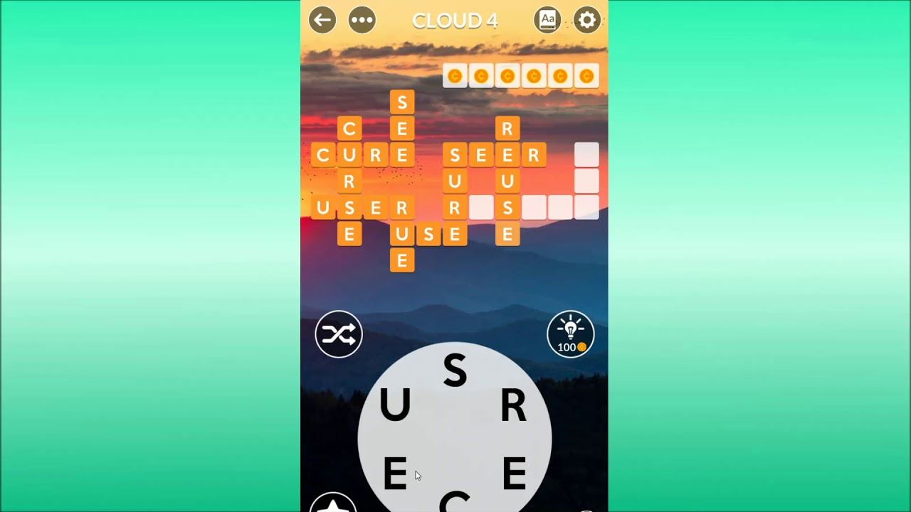Wordscapes Cloud 4 Answers Youtube