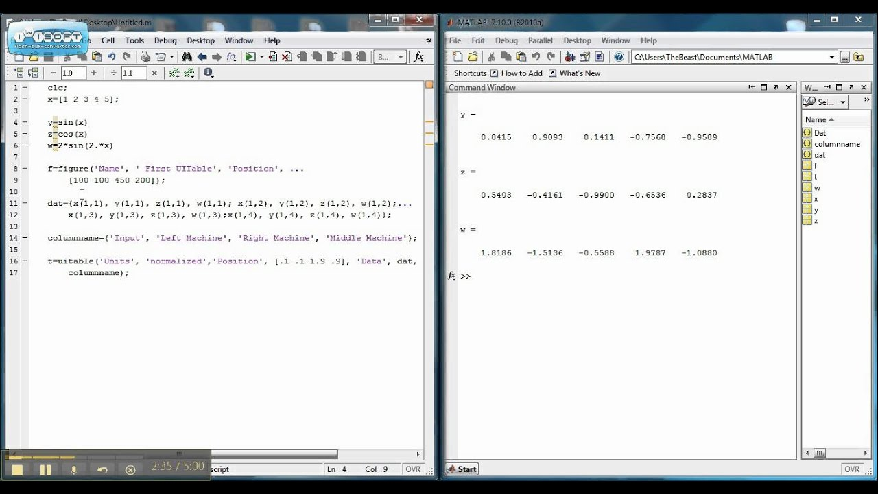 How to create uitable using matlab youtube for Table 2 matrix matlab