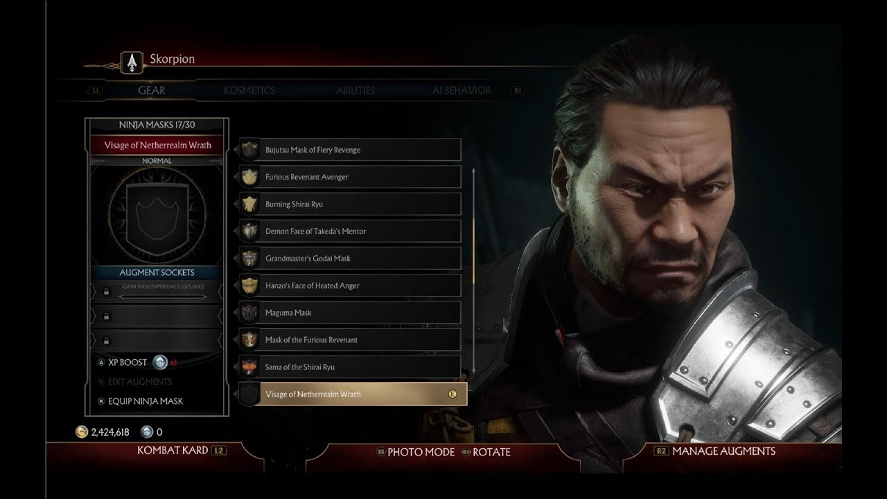 How To Unlocking Scorpion S Maskless Gear Unmasked Scorpion Mortal Kombat 11 Youtube