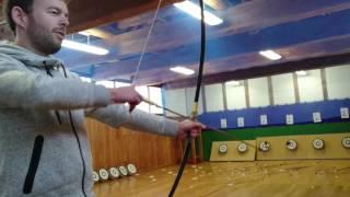 Practicing Kyudo (archery) at the Aizu Hanko Nisshin-kan samurai school in Fukushima