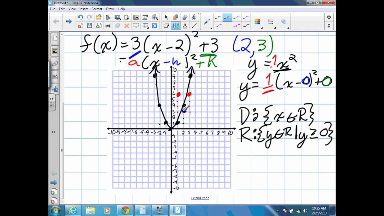 Domain and range of quadratic functions worksheets