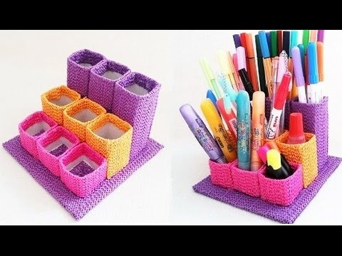 DIY penholder out of paper tubes - life hack - YouTube