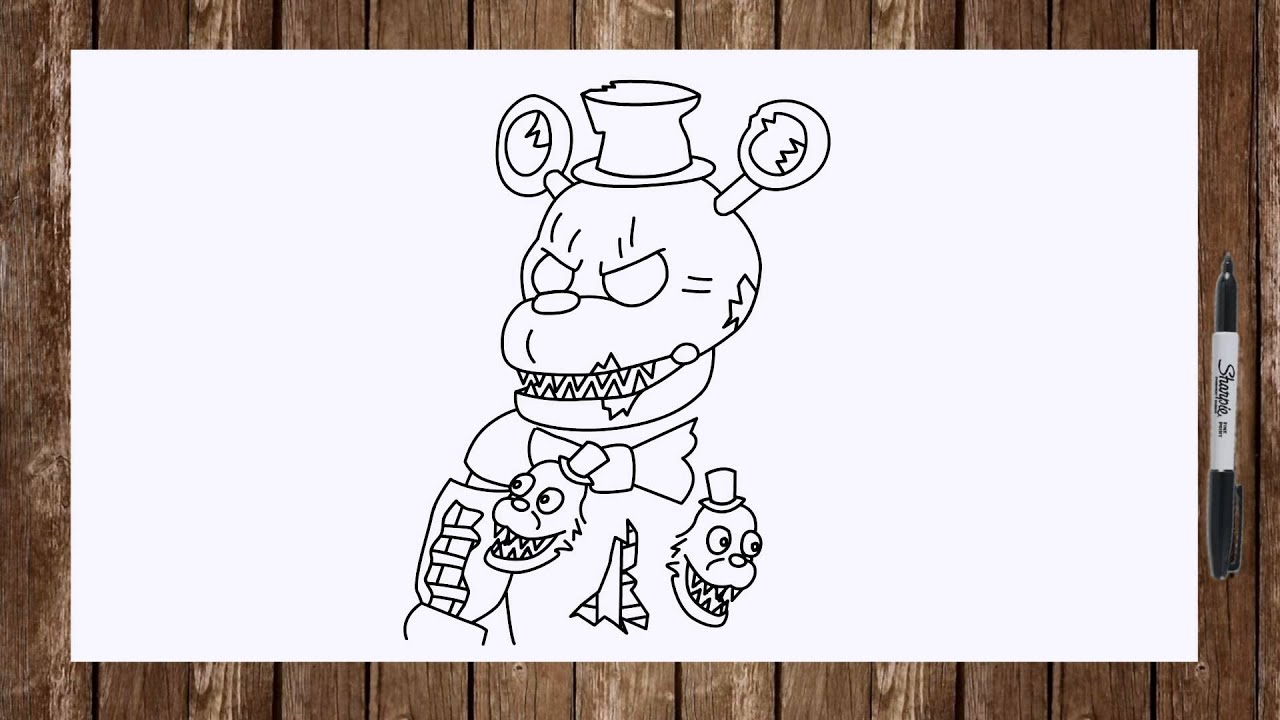 Speed Drawing Fnaf 4 Characters Nightmare Foxy Nightmare