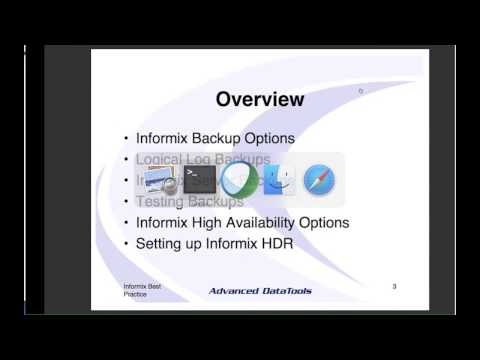 Informix Best Practices Webcast on Backup, Recovery, and High Availability Disaster Recovery (HDR)
