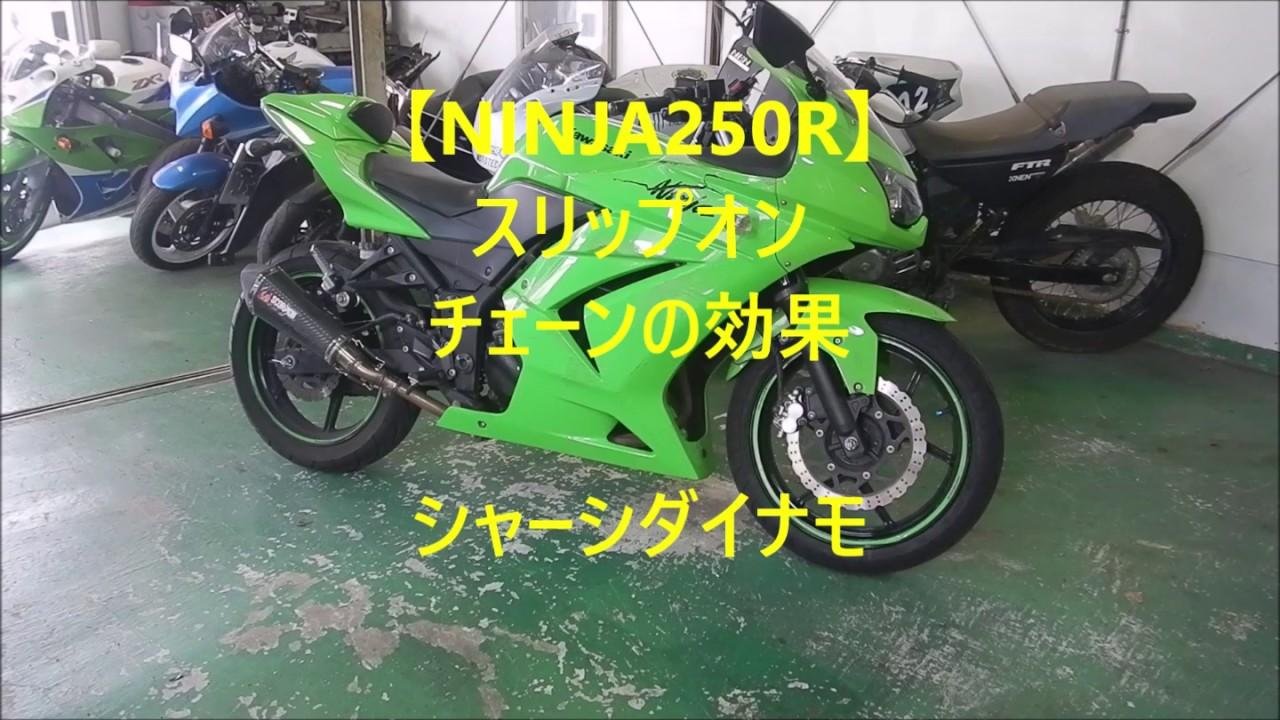 【NINJA250R】スリップオン チェーンの効果 シャーシダイナモ