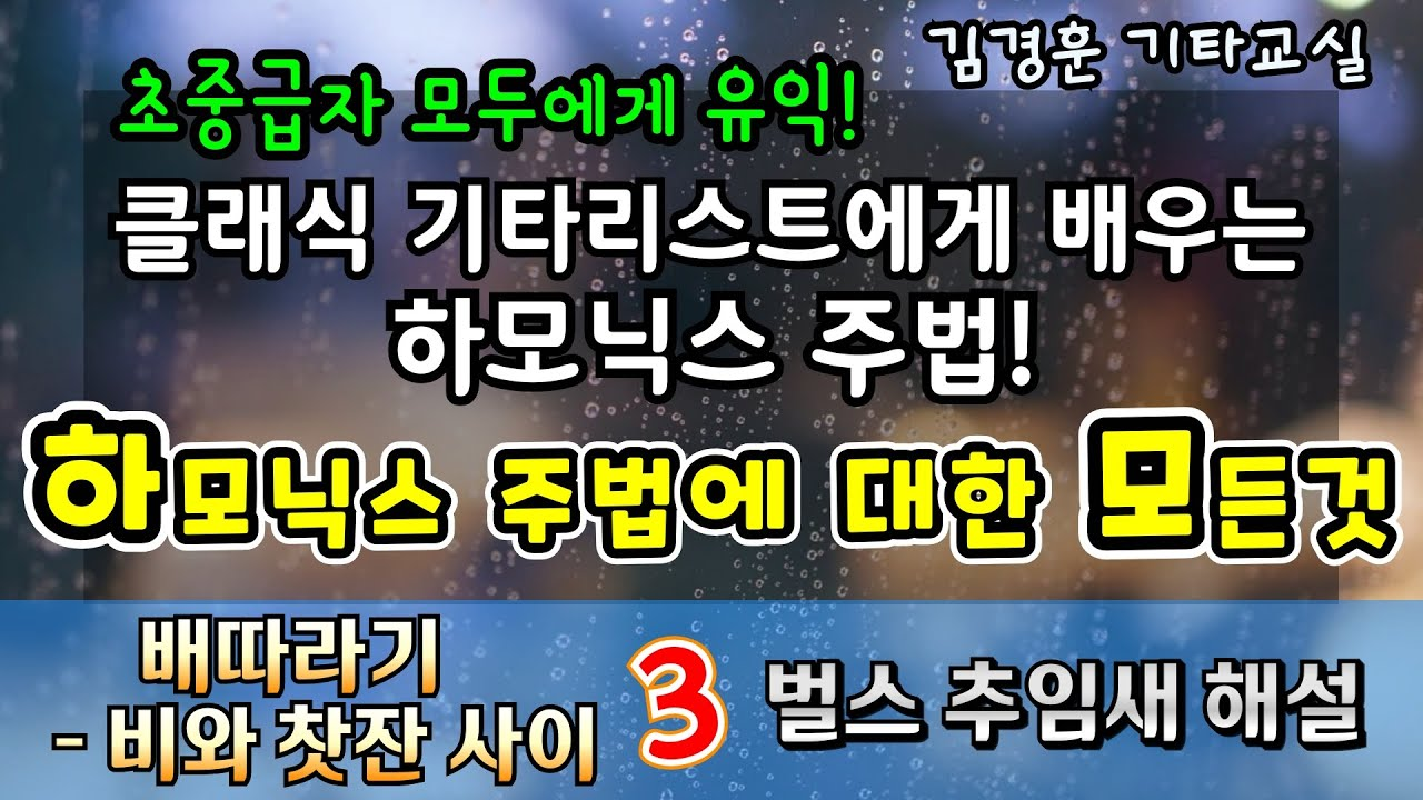 """👍👍클래식 기타리스트에게 배우는 하모닉스 입문!/ 배따라기 """"비와 찻잔사이"""" 벌스 추임새🍵 / 가을하늘 기타교실"""
