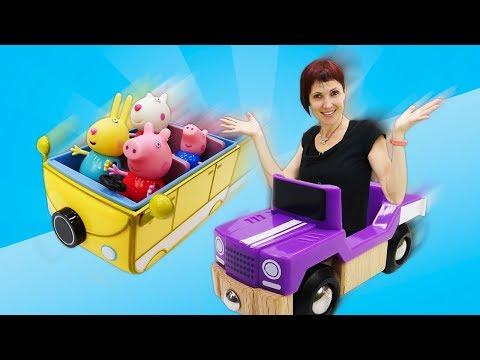 Маша Капуки Кануки иигрушки Свинка Пеппа— Веселая Школа итранспорт: машинки, паровоз иавтобус