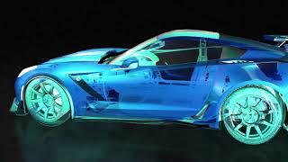 Electric green corvette supercar ...