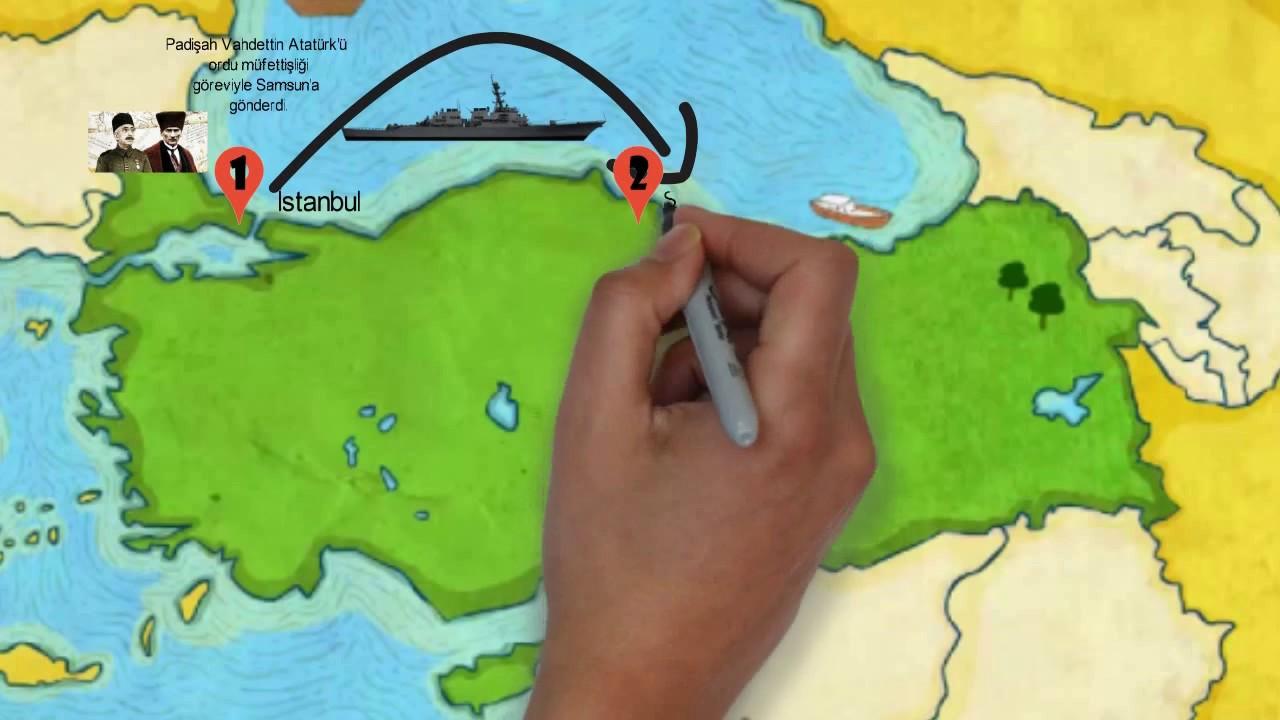 4sınıf Türkiye Haritası üzerinde Milli Mücadele Dönemi Youtube