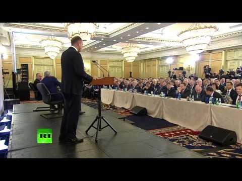 Владимир Путин принимает участие в съезде РСПП