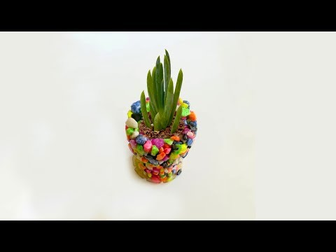 DIY How to Make Candle Holders or flower pot from Gravel and Epoxy Resin