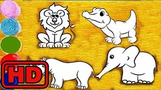 Kid -Kids -Wrong Wooden Slots With ZOO Animals-Glitter Coloring For Kids/Learn Farm Animals with Ar