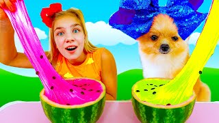 Maggie and Watermelon Slime Challenge