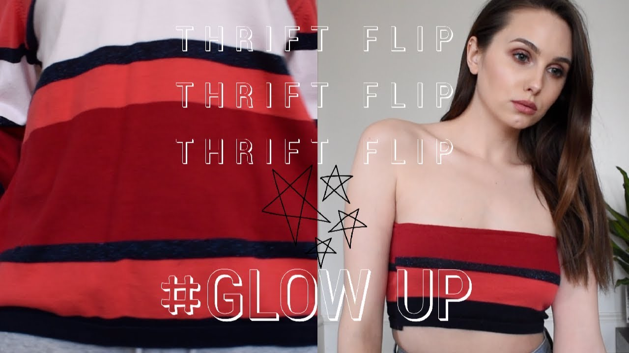 7c68b1f64b368 DIY Thrifted Tommy Hilfiger Crop Top Sweater   Tube Top - YouTube