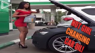Hot Girl Changing Car Oil