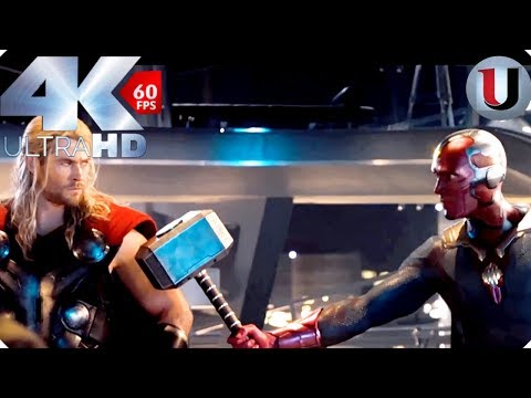 Vision Lifts Thors Hammer - Creating Vision - Avengers Age of Ultron 2015 Movie Clip (4K HD)