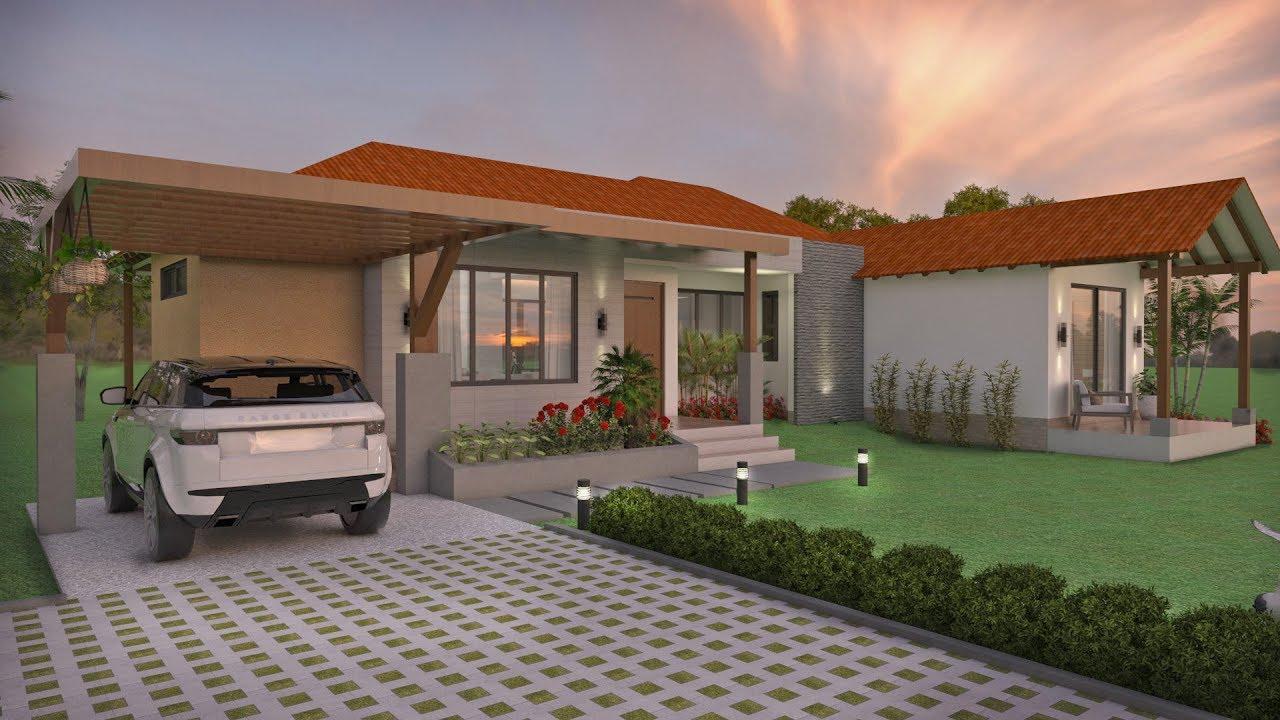 Planos de casa campestre en un piso de 128 m2 arquitecto for Casa de una planta sencilla
