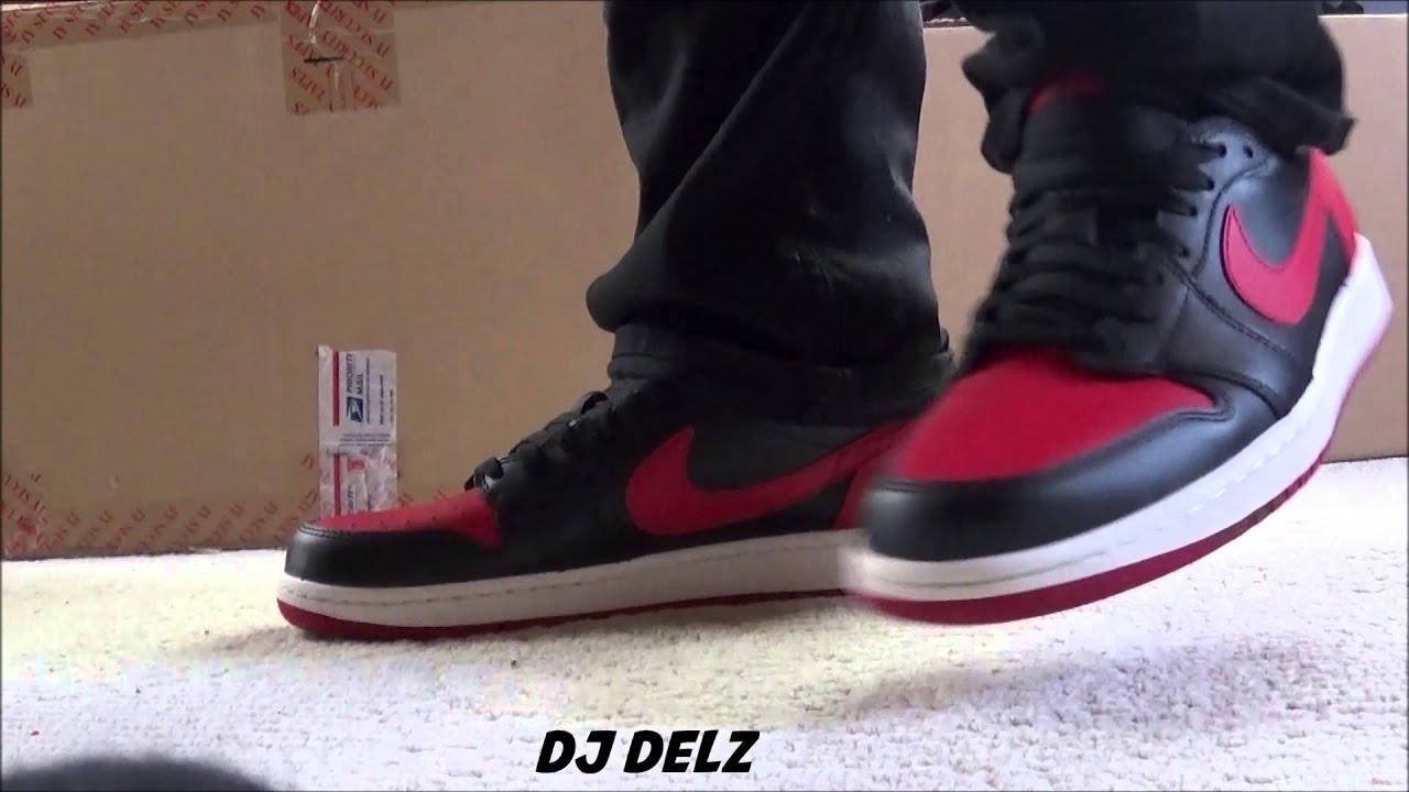 a503d1f178ca61 Air Jordan Bred 1 OG Low Red Sneaker On Feet - YouTube