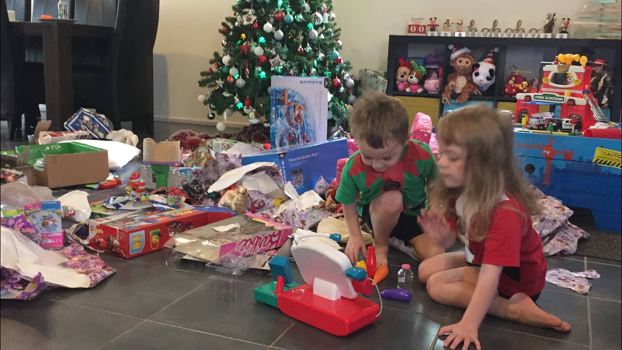 Christmas Day 2015; Twins opening & playing with presents - YouTube