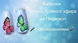 Роспись ногтей. Бабочка. ( Перископ)