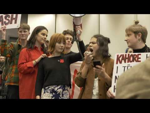 Protesters shout down Don Brash at an Auckland Uni debate