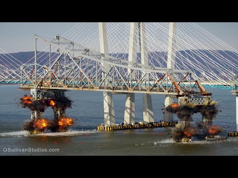 Tappan zee bridge demolition (shot with an Inspire 2)
