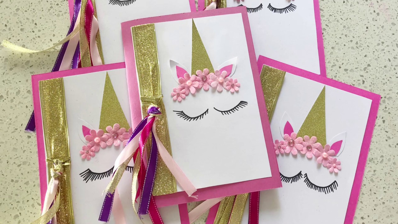 beautiful handmade unicorn party invitations