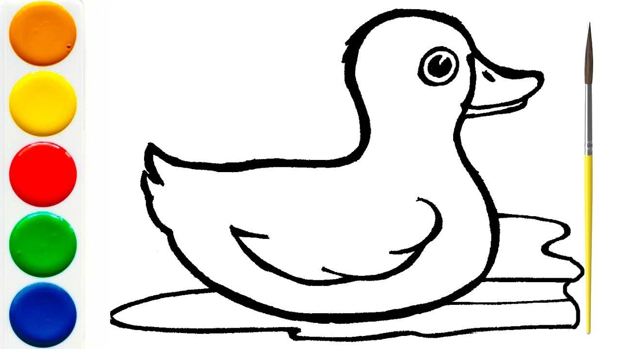 Раскраска для детей УТКА | Как нарисовать Утку - YouTube