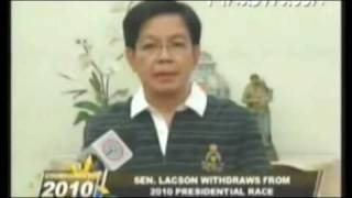 Senator Panfilo Lacson withrew his bid for the 2010 Presidential Elections