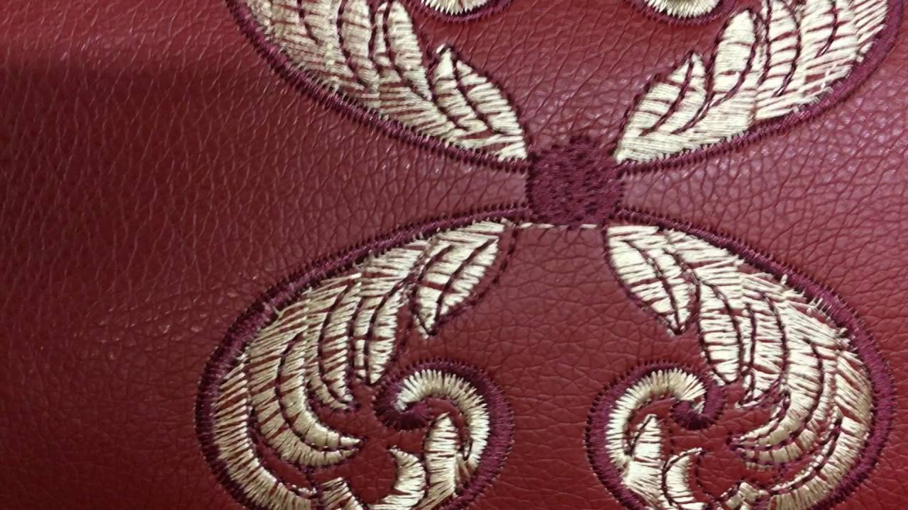brick red gold embroidery