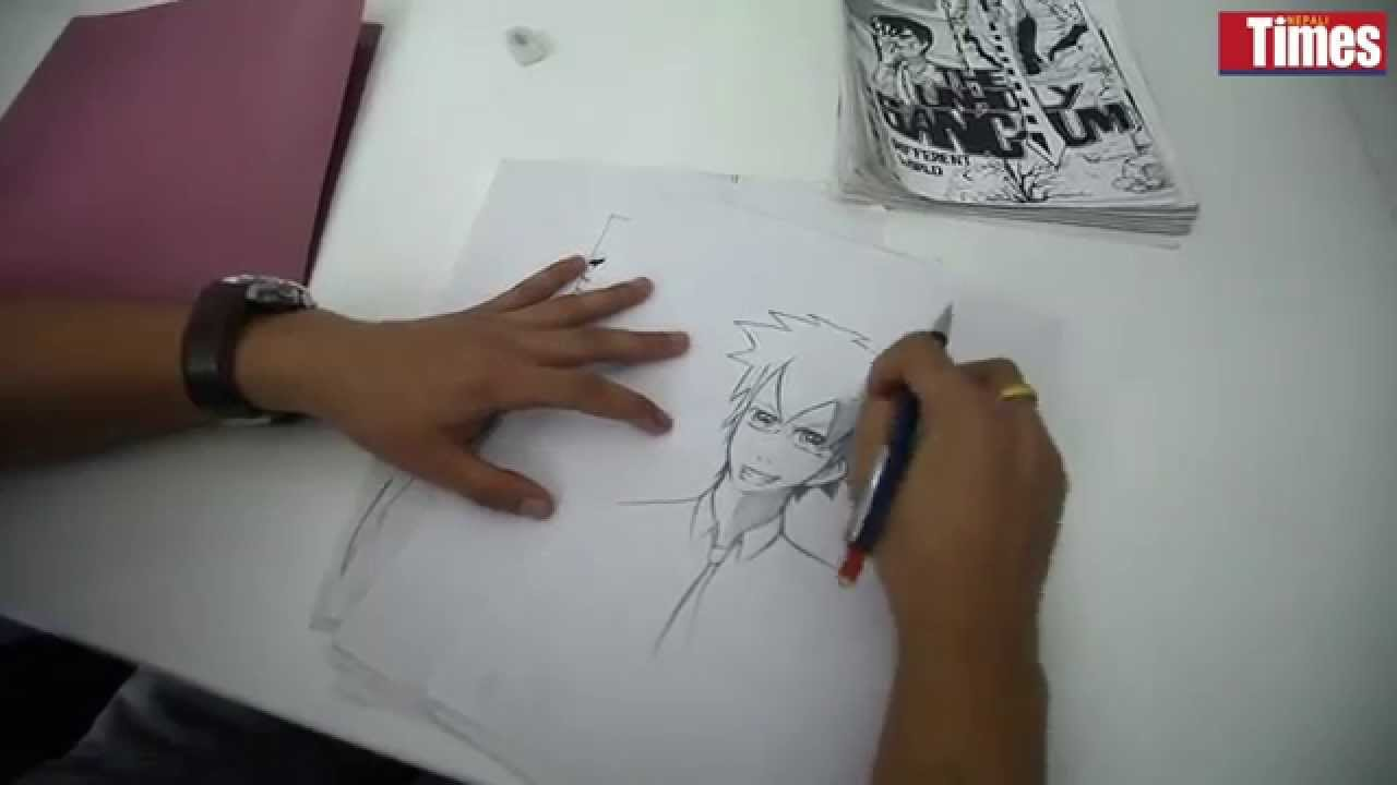 Manga artist at work