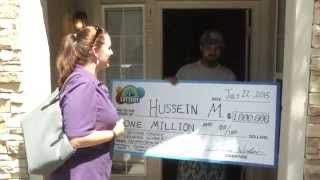Hussein M, You Just Won Our $1 Million 2nd Chance Drawing - Prize Surprise - there are one million reasons to answer that door! We woke up Hussein M. at his home in east Denver with a check for $1 million, and he was utterly speechless.  Hussein is the winner of the Overwhelming Wealth (20 Million Series III) 2nd Chance Drawing.