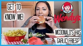 q answers   wendy s   mcdonald s garlic fries   mukbang eating show   get to know me